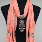 Woman Fashion Accessory Owl Pendant Peach Scarf Necklace ! Gift Jewelry & Love