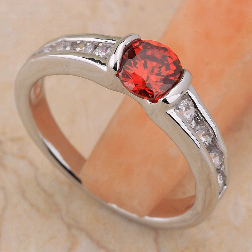 Fashion red garnet woman gentle platinum plated ring size 7.5 ! Gift & Jewelry
