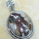 "Fashion silver chain & natural jasper gemstone pendant 2"" ! Gift Jewelry & Love"