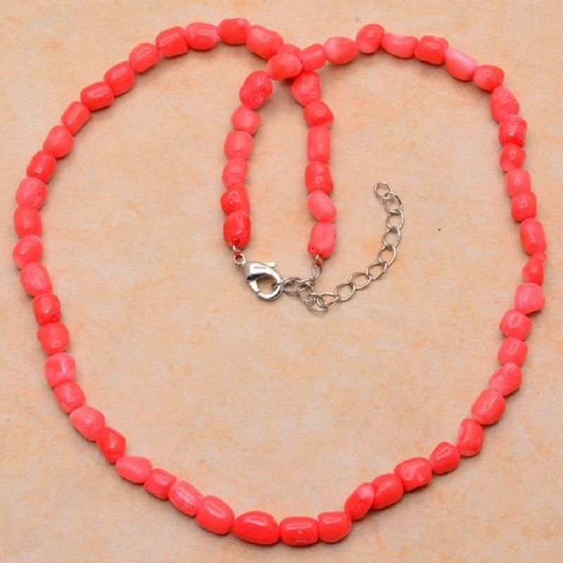 Fashion pink sea natural coral gemstone beaded necklace ! Gift Love & Jewelry