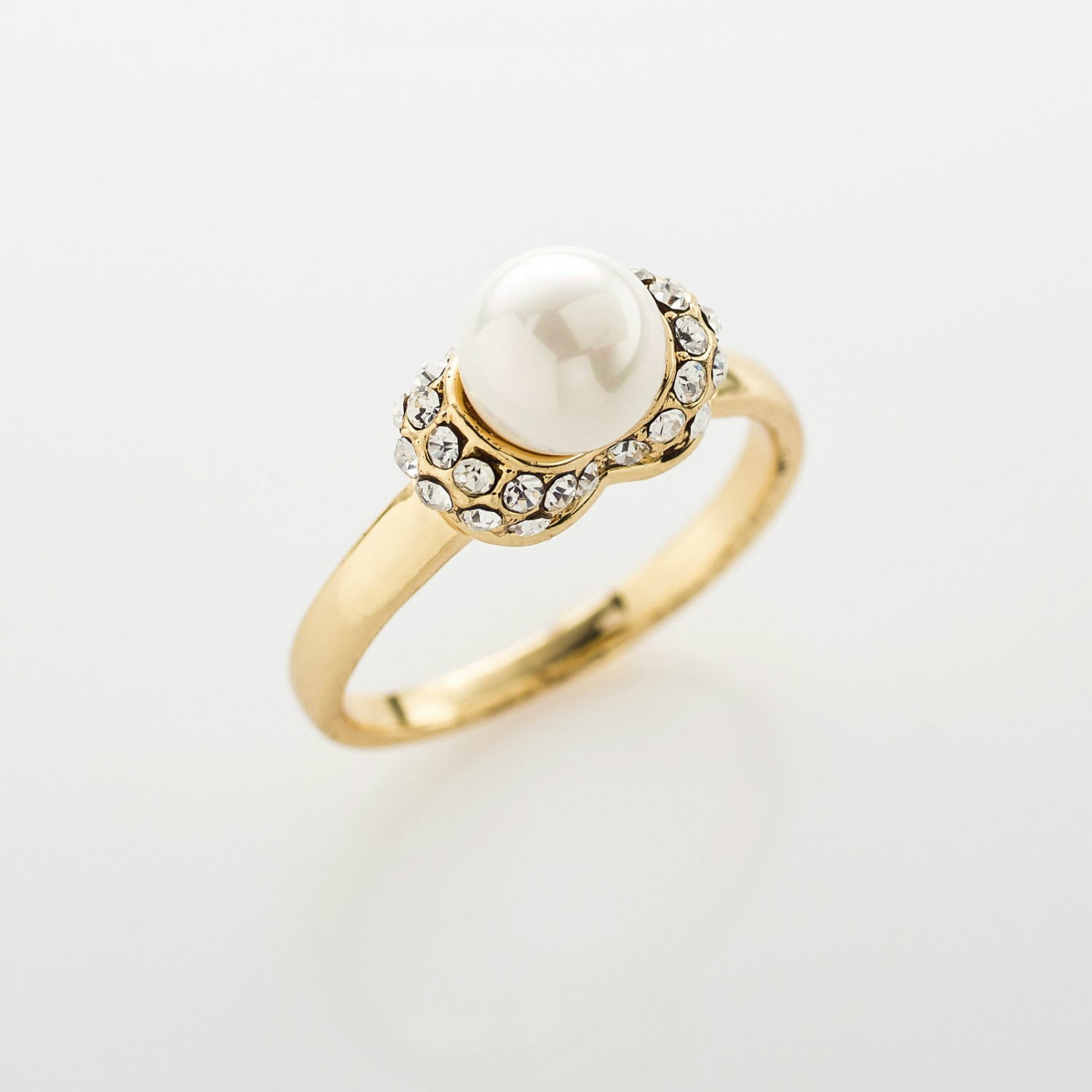 Fashion 18k gold plated pearl zircons woman ring size 6.5 ! Gift Jewelry & Love