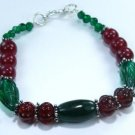 Beautiful fashion emerald & cherry ruby silver bracelet ! Gift Jewelry and Love