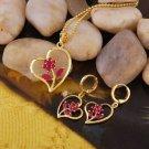 Elegant 27 zircons Jewelry set 18k GP heart & flowers ! Gift Jewelry & Love