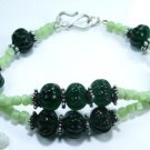 Beautiful Fashion jasper & emerald silver 925 bracelet ! Gift Jewelry & Love