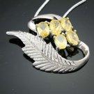 18k GP swarovski leaf yellow Citrine pendant & necklace ! Gift Jewelry & Love