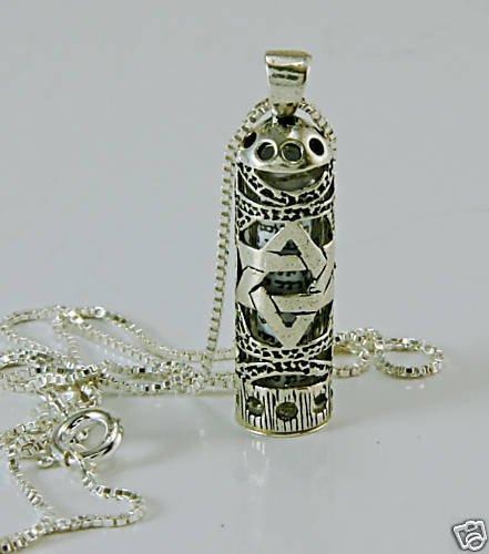Sterling silver 925 necklace & pendant of mezuzah + script ! Judaica Jewlery