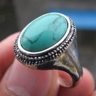 Fashion silver ring set natural Turquoise gemstone size 9 ! Gift Jewelry & Love