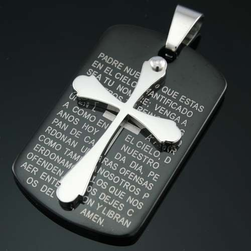 Latin Cross Black Stainless Steel Pendant & necklace ! Gift Jewelry and Love