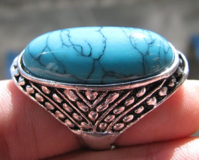 Fashion silver ring , natural Turquoise gemstone size 9.5 ! Gift Jewelry & Love
