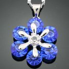 Crystal Blue Sapphire 18K Gold Plated Pendant & Chain ! Gift Jewelry & Love