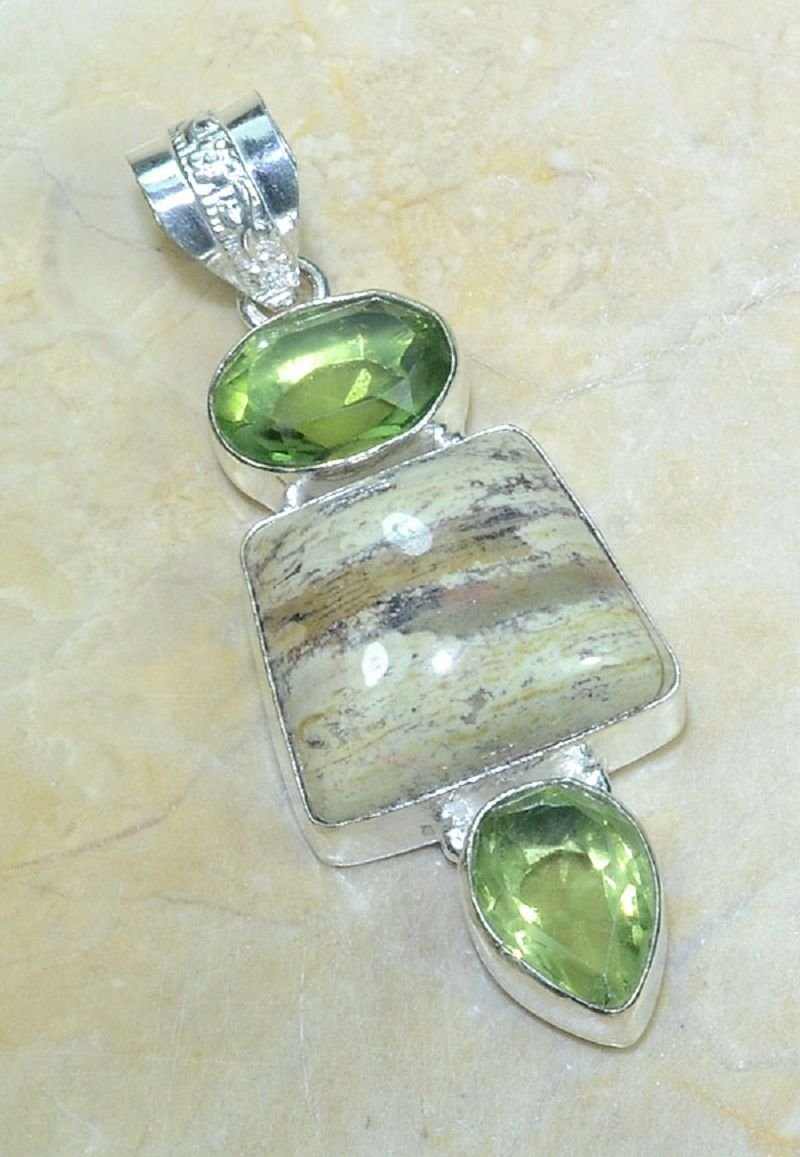 Ocean jasper & green amethyst silver pendant + necklace ! Gift Jewelry & Love