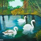 Marta Aharonv art , 1/1 Swans in the lake, original acrylic painting on canvas