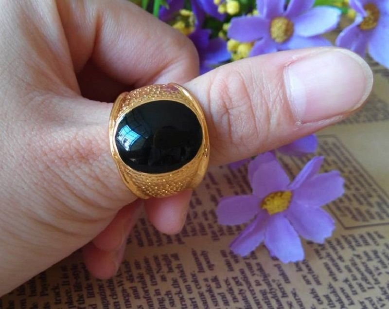 Fashion 10k gold filled black sapphire unisex ring size 9 ! Gift & Jewelry
