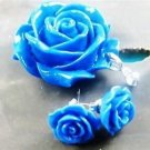 Fashion blue coral stone carved flower pendant + silver necklace + earrings