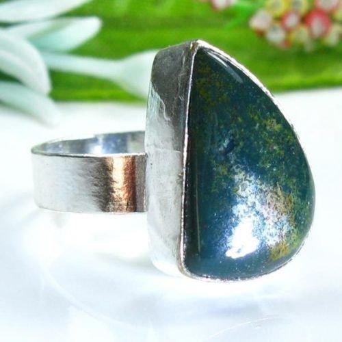 Pretty Jasper silver stamp 925 ring size 8 1/4 ! Gift Jewelry & Love
