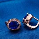 18K Rose Gold Plated Beautiful Blue Oval Design Cubic Zircons Hoop Earrings