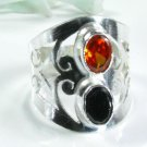 Fashion black onyx & orange quartz silver ring size 7.5 ! Gift Jewelry & Love