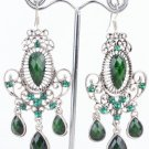 Fashion Silver Plated Green Stone Floral Dangle Earrings ! Gift Jewelry & Love