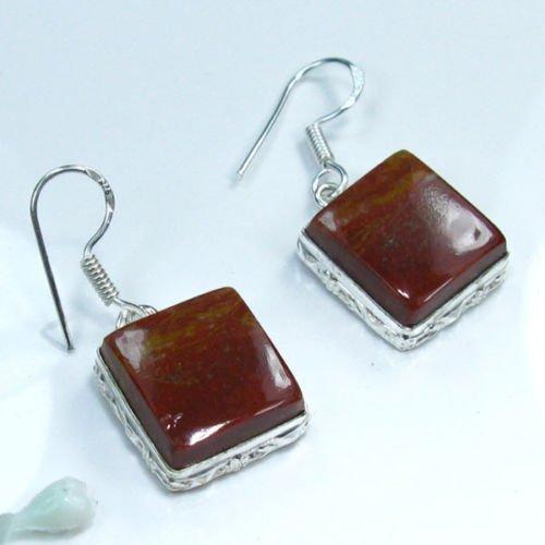 Fine fashion silver 925 brown jasper stone earrings