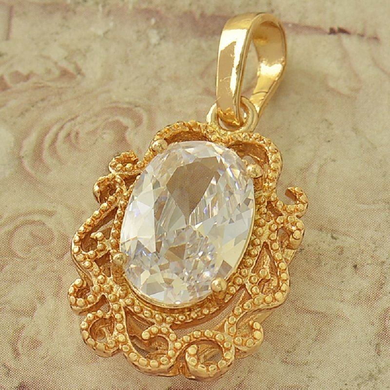 Fashion 9k gold filled pendant set swarovski crystal + necklace ! Gift & Jewelry