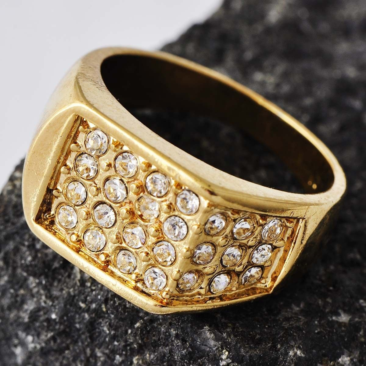 Fashion desaign gold filled cubic zircons unisex ring size 10 ! Gift & Jewelry