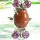 Fashion silver 925 sun sitra & pink quartz ring size 6 ! Gift Jewelry & Love