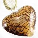 Heart Handmade Art Murano Glass Pendant Ribbon Necklace ! Gift Jewelry & Love