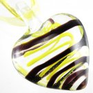 Heart Handmade Art Murano Glass Pendant Ribbon Necklace ! Gift Jewelry & Love