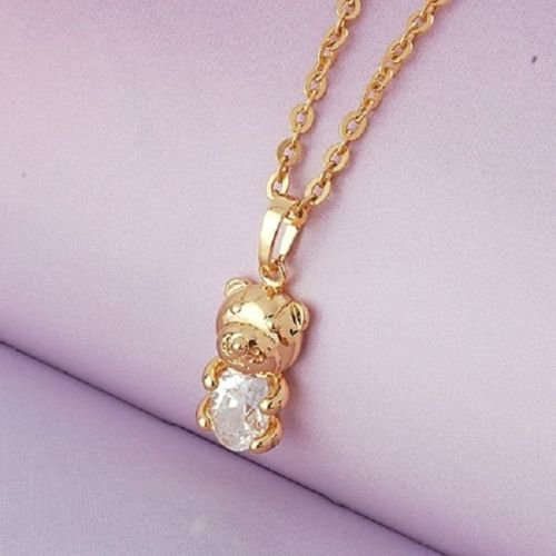Lovely Bear 18K GP & cubic Zircon - Pendant & Necklace ! Gift Jewelry and Love