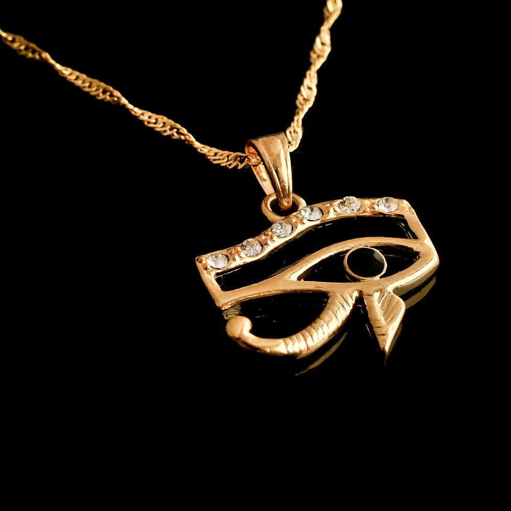 Fashion 18k gold plated black Pharaoh eye pendant & chain ! Gift Jewelry & Love