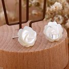 White pearl rose flower 925 sterling silver stud earrings ! Gift Jewlery & Love