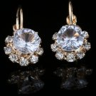 Fashion gold plated white zircon gemstone stud earrings ! Gift Jewelry & Love
