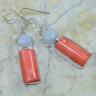 Fashion silver & natural red coral + moonstone earrings ! Gift Jewelry & Love