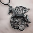 Stainless Steel Pegasus Horse Crystal Pendant Leather Cord Necklace Chain