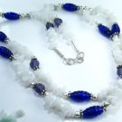 Beautiful dyed glass & white jade & sterling necklace ! Gift Jewelry & Love