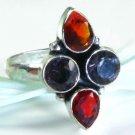Pretty Amethyst Garnet silver stamp 925 ring size 8 1/2 ! Gift Jewelry & Love