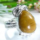 Jewelry brown Jasper silver stamp 925 ring size 6 1/2 ! Gift Jewelry & Love