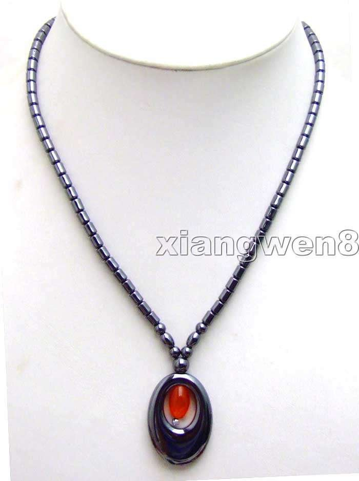 "Fashion red opal Big 20*30mm Oval hematite pendant necklace 17"" Gift & Jewelry"