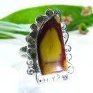 Pretty natural Jasper silver stamp 925 ring size 8 1/2 ! Gift Jewelry and Love