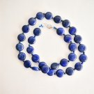 "17.5"" Lapis lazuli beaded necklace , round design gemstone ! Gift Jewelry & Love"
