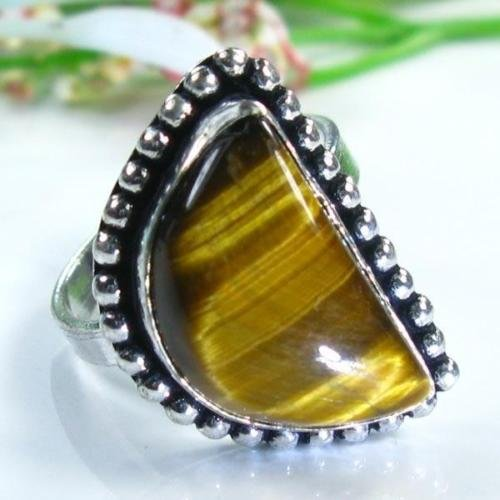 Pretty sterling 925 & Tiger eye gemstone ring size 8 ! Gift Jewelry and Love