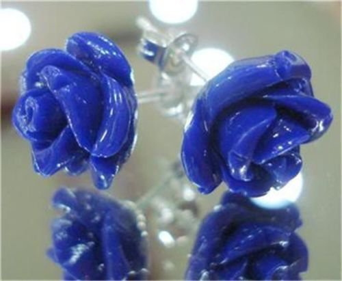 Fashion blue coral stone carved roze flower earrings ! Gift Jewlery & Love