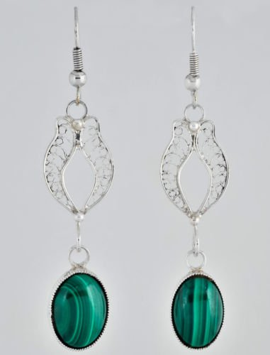 Pretty special silver 925 earrings set with Malachite ! Gift Jewelry & Love