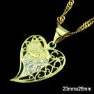 Fashion 24k Gold Plated Allah Heart Pendant & Chain ! Islam Gift Jewelry & Love