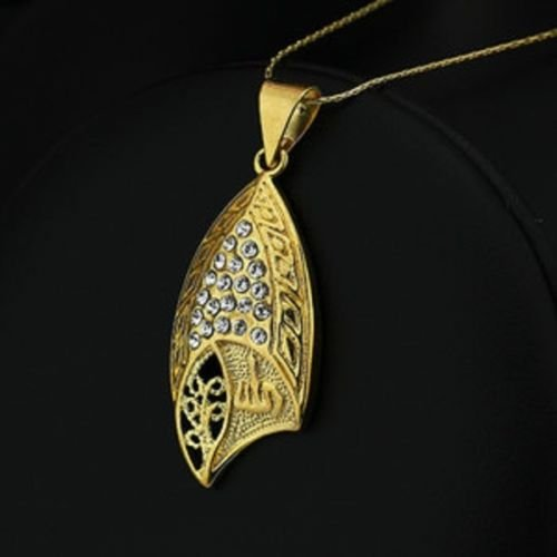 Fashion 18k Gold Plated Allah Islam Pendant & Necklace ! Gift Jewelry & Love