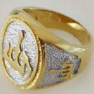 Fashion 18k gold plated Allah islam man wooman ring size 9 ! Gift Jewelry & Love