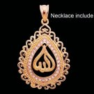Fashion 18k GP allah + zircons design pendant & necklace ! Gift Jewelry & Love