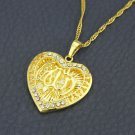 Heart 18k gold plated & zircons Allah Islam Pendant necklace ! Gift Jewelry Love