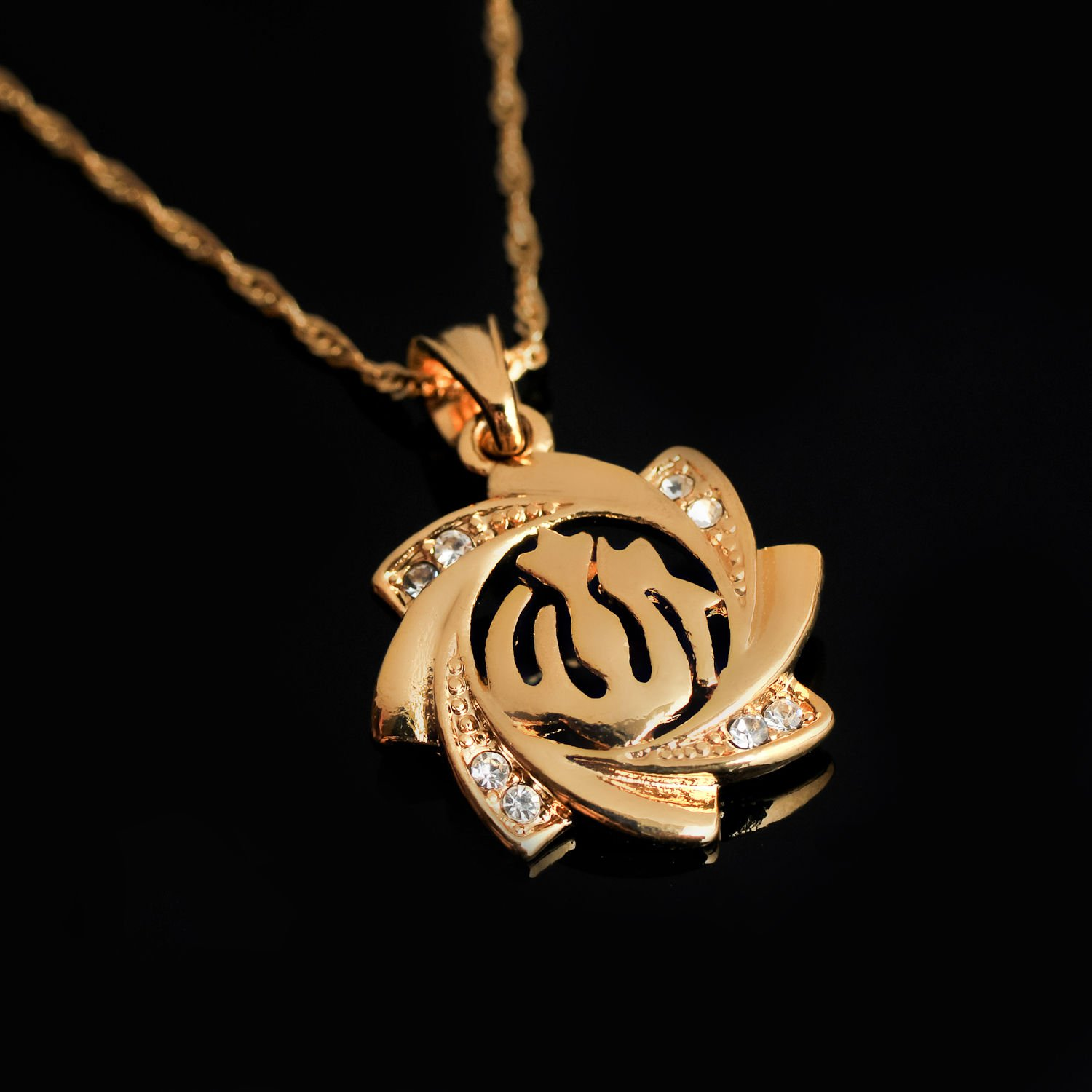 18k gold plated Allah Islamic Design Pendant & necklace ! Islam Gift & jewelry