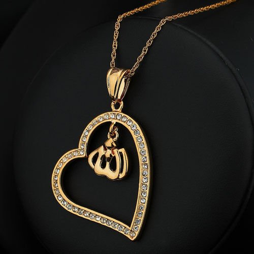 Fashion 24k Gold Plated Heart Allah Islam Pendant & Necklace ! Gift & Jewelry